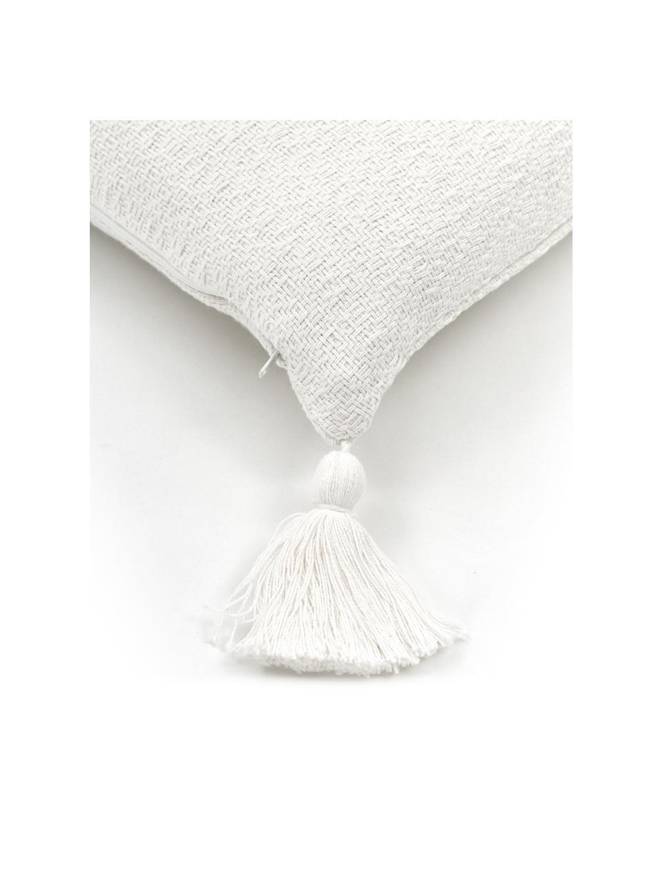 Kissenhülle Lori in Cremeweiß mit dekorativen Quasten, 100% Baumwolle, Weiß, 40 x 40 cm