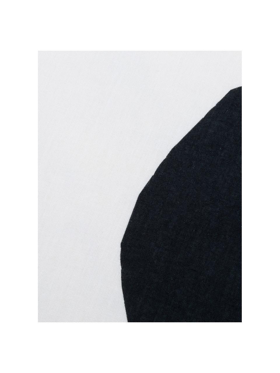 Dubbelzijdig dekbedovertrek Dot, Katoen, Bovenzijde: wit, zwart. Onderzijde: wit, 140 x 200 cm + 2 kussen 60 x 70 cm