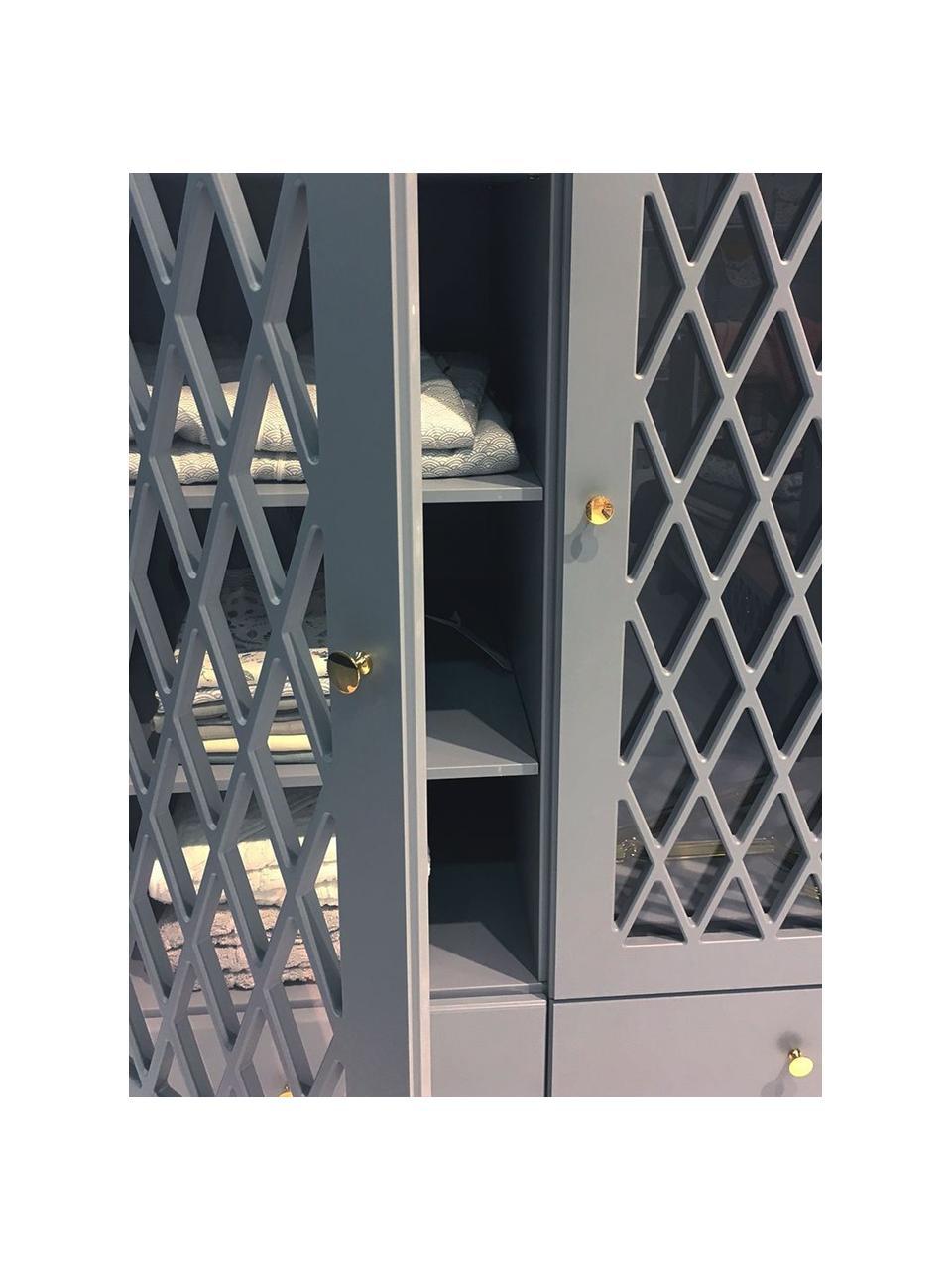 Schrank Harlequin, Front: Plexiglas, Griffe: Messing, Grau, 106 x 176 cm