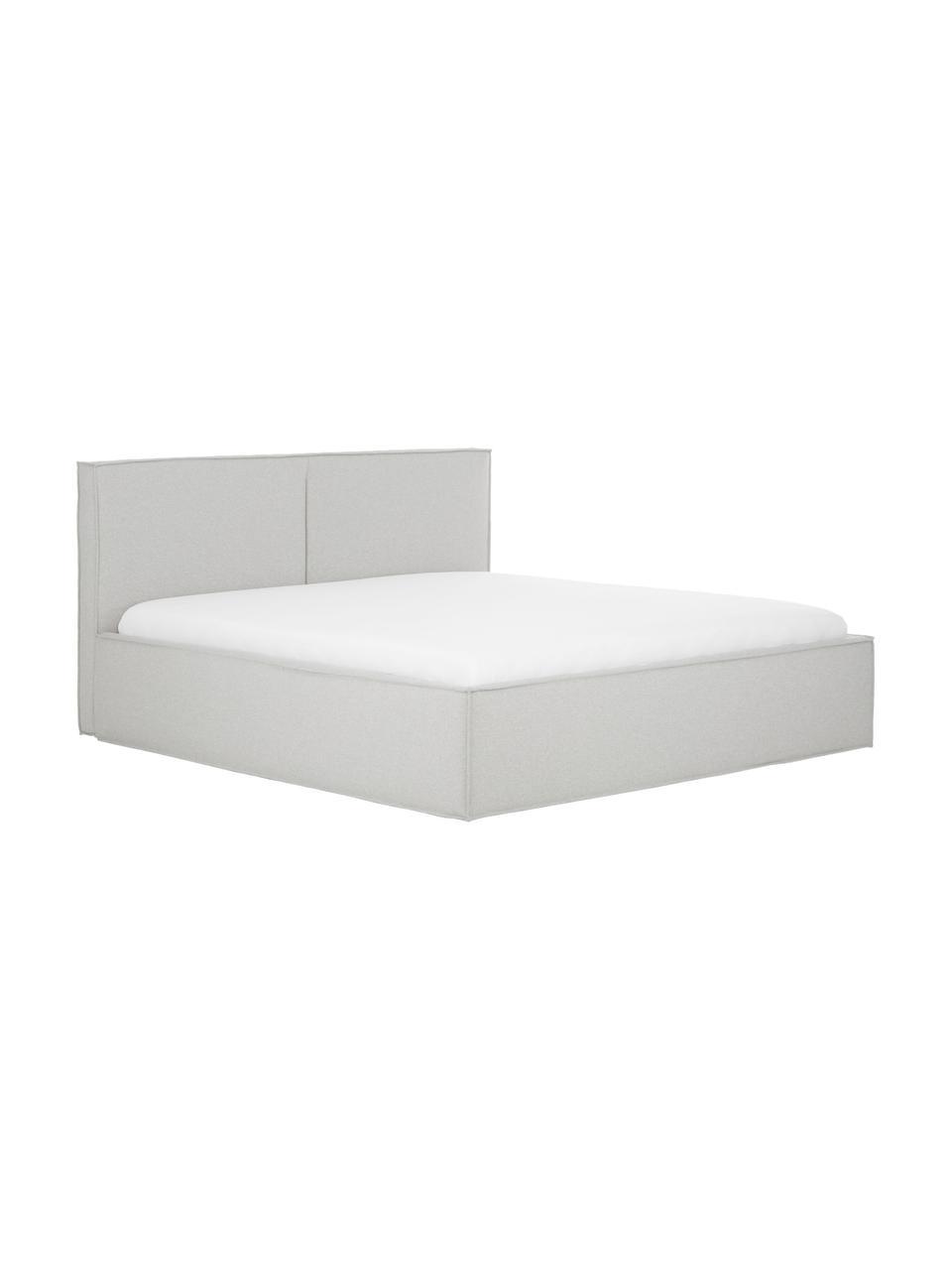 Gestoffeerd bed Dream met opbergruimte in lichtgrijs, Frame: massief grenenhout en pla, Bekleding: 100% polyester (gestructu, Geweven stof lichtgrijs, 180 x 200 cm