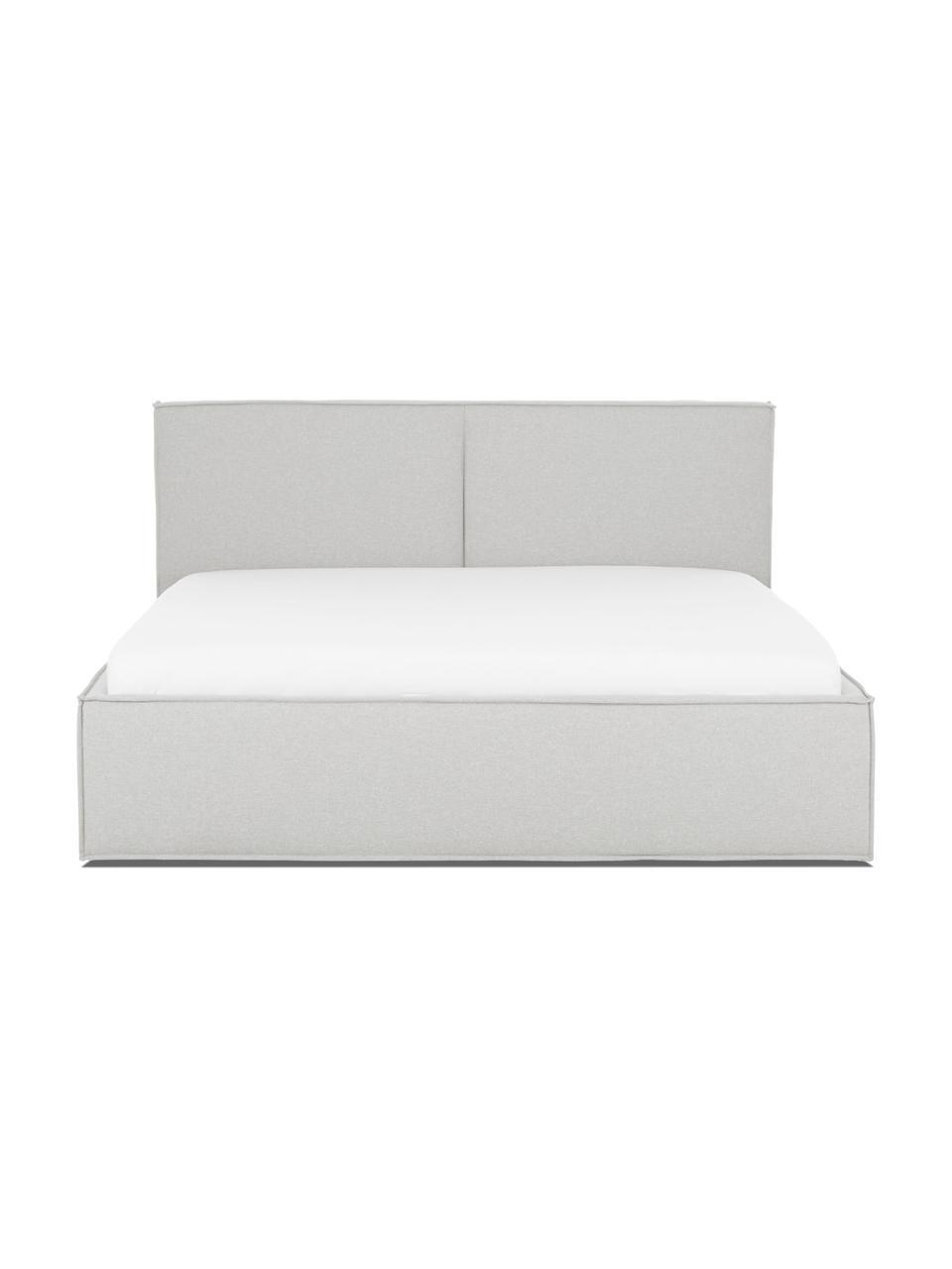 Gestoffeerd bed Dream met opbergruimte in lichtgrijs, Frame: massief grenenhout en pla, Bekleding: polyester (gestructureerd, Geweven stof lichtgrijs, 180 x 200 cm