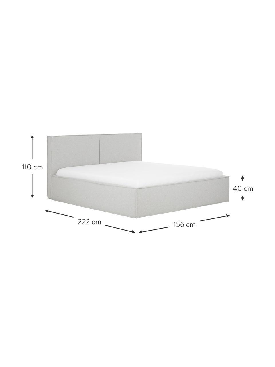 Łóżko tapicerowane ze schowkiem Dream, Korpus: lite drewno sosnowe i pły, Tapicerka: 100 % poliester (tkanina , Jasny szary, S 180 x D 200 cm