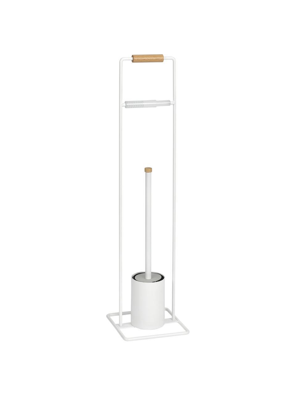 Toilettenpapierhalter Barbican mit Toilettenbürste, Metall, Gummibaumholz, lackiert, Weiß, Gummibaumholz, 18 x 72 cm