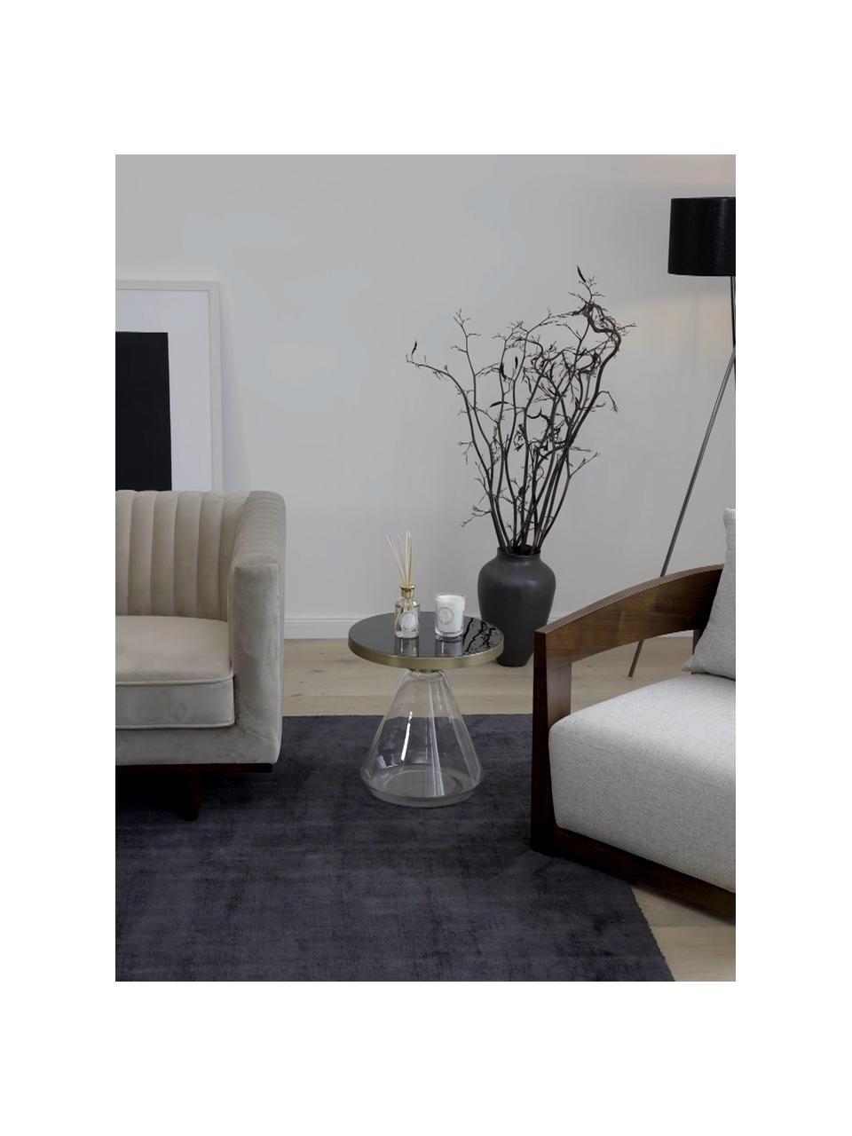 Tavolino con base in vetro Enzo, Piano d'appoggio: metallo rivestito, Piedini: vetro, Nero, Ø 41 x Alt. 42 cm