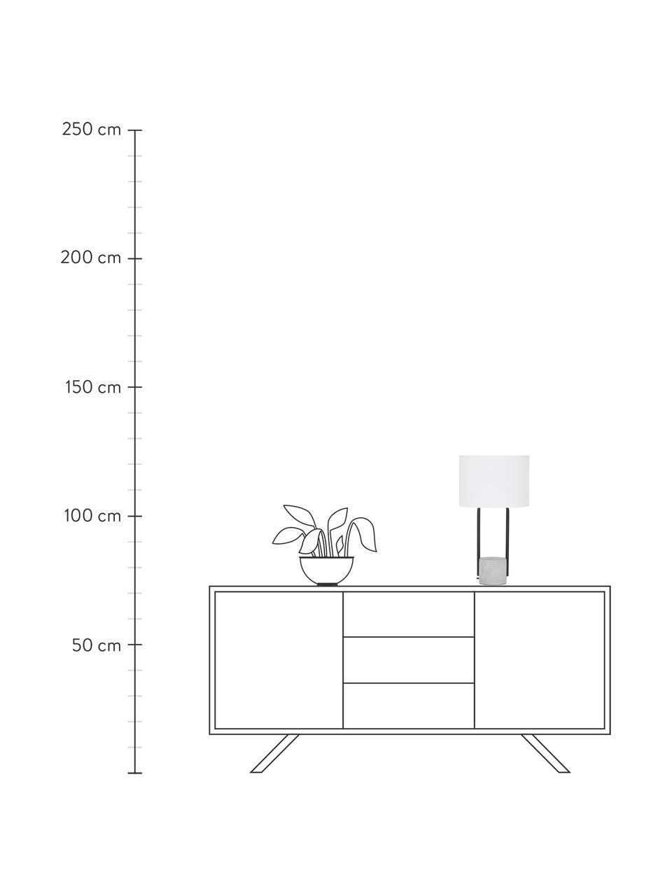 Große Tischlampe Pipero mit Betonfuß, Lampenschirm: Textil, Lampenfuß: Metall, pulverbeschichtet, Lampenschirm:WeißLampenfuß:Schwarz, matt, GrauKabel: Schwarz, Ø 28 x H 51 cm