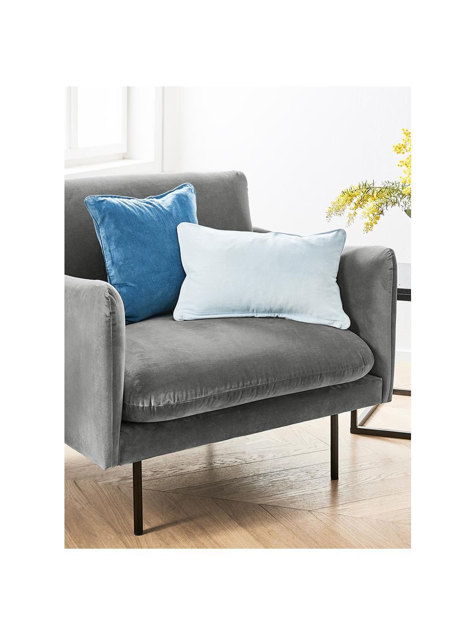 Fluwelen fauteuil Moby in grijs met metalen poten, Bekleding: fluweel (hoogwaardig poly, Frame: massief grenenhout, Poten: gepoedercoat metaal, Fluweel grijs, B 90 x D 90 cm