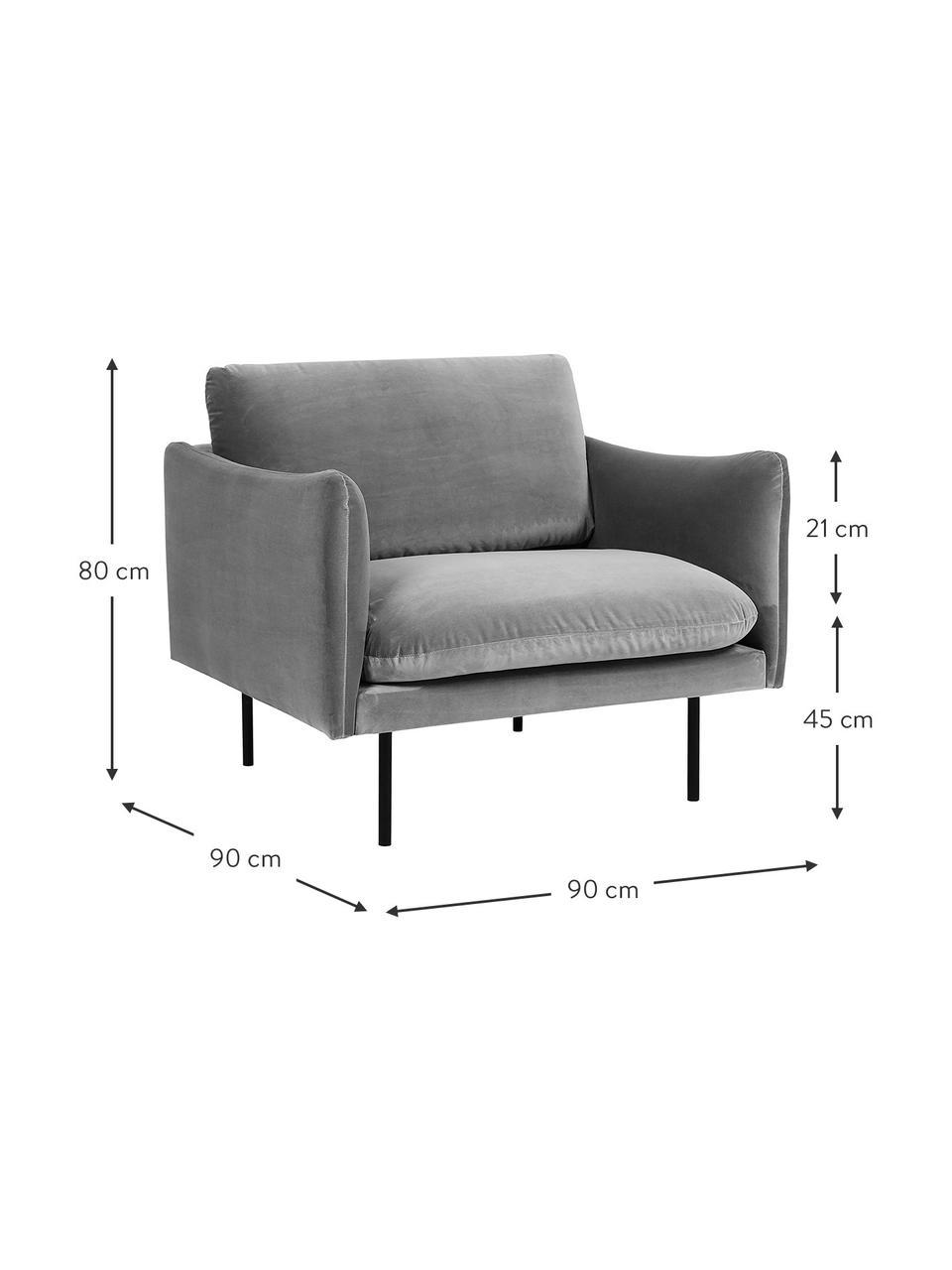 Samt-Sessel Moby in Grau mit Metall-Füßen, Bezug: Samt (Hochwertiger Polyes, Gestell: Massives Kiefernholz, Füße: Metall, pulverbeschichtet, Samt Grau, B 90 x T 90 cm