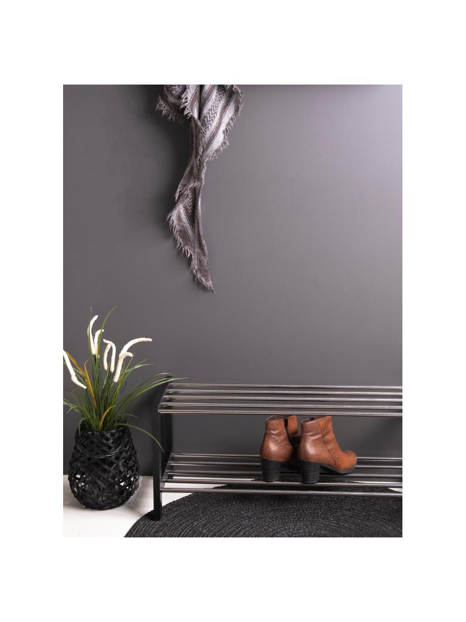 Schuhregal Padova mit 2 Ablageflächen, Gestell: Pappelholz, lackiert, Schwarz, Stahl, 78 x 32 cm
