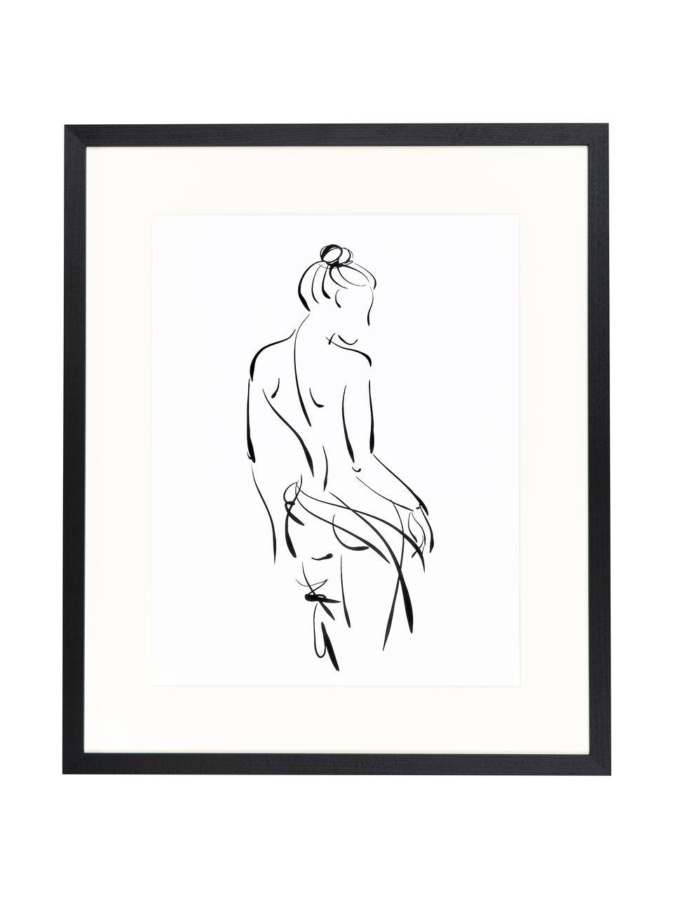 Stampa digitale incorniciata Naked Woman, Immagine: stampa digitale su carta,, Cornice: legno, verniciato, Nero, bianco, L 53 x A 63 cm