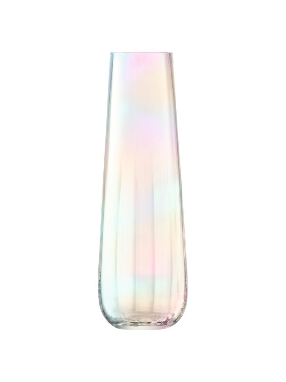 Duży wazon ze szkła dmuchanego Pearl, Szkło, Perłowy połysk, Ø 13 x W 36 cm