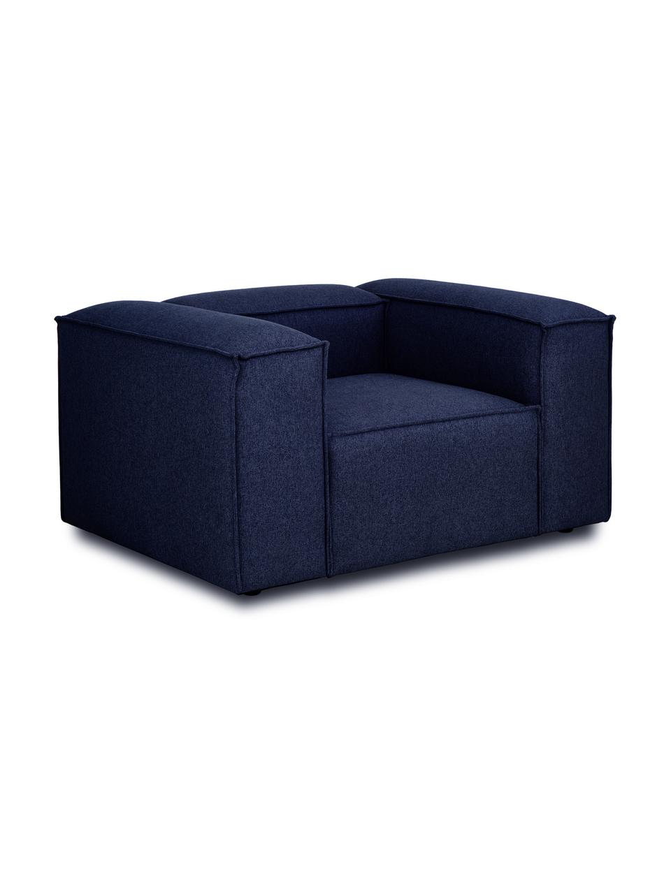 Sessel Lennon in Blau, Bezug: 100% Polyester Der strapa, Gestell: Massives Kiefernholz, Spe, Füße: Kunststoff Die Füße befin, Webstoff Blau, B 130 x T 101 cm