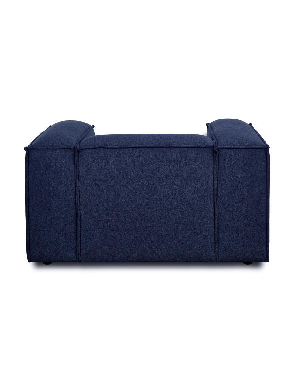 Poltrona in tessuto blu Lennon, Rivestimento: 100% poliestre Con 115.00, Struttura: legno di pino massiccio, , Piedini: plastica I piedini si tro, Tessuto blu, Larg. 130 x Alt. 101 cm