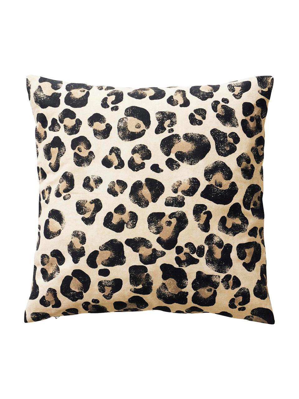 Kissenhüllen Jill mit Animal Print, 2er-Set, 100% Baumwolle, Schwarz, Beige, 45 x 45 cm