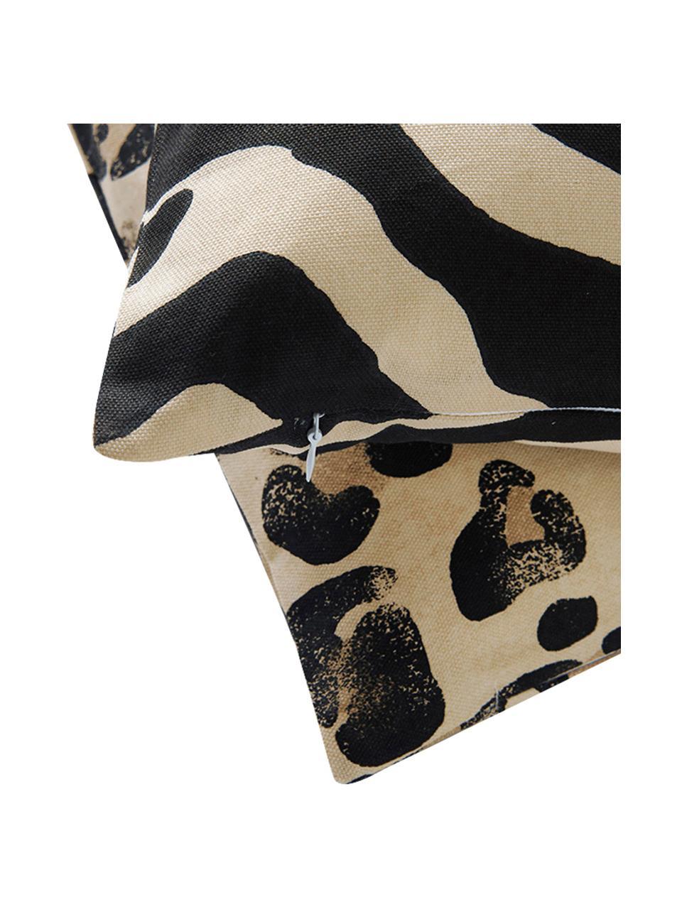 Kussenhoezen Jill met dierenprint, 2 stuks, Katoen, Zwart, beige, 45 x 45 cm