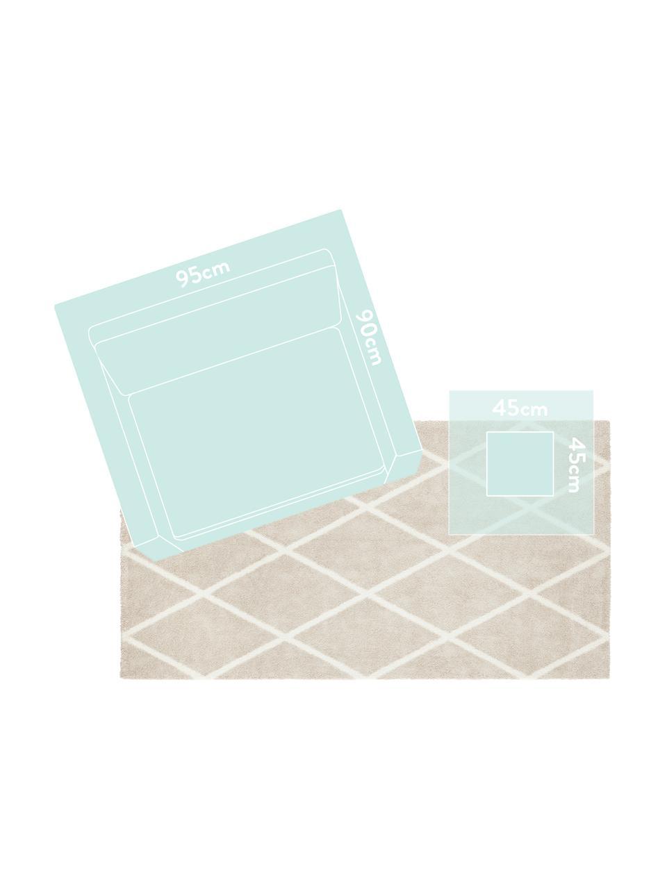 Teppich Lunel mit Rautenmuster, Flor: 85%Polypropylen, 15%Pol, Beige, Cremefarben, B 200 x L 290 cm (Größe L)