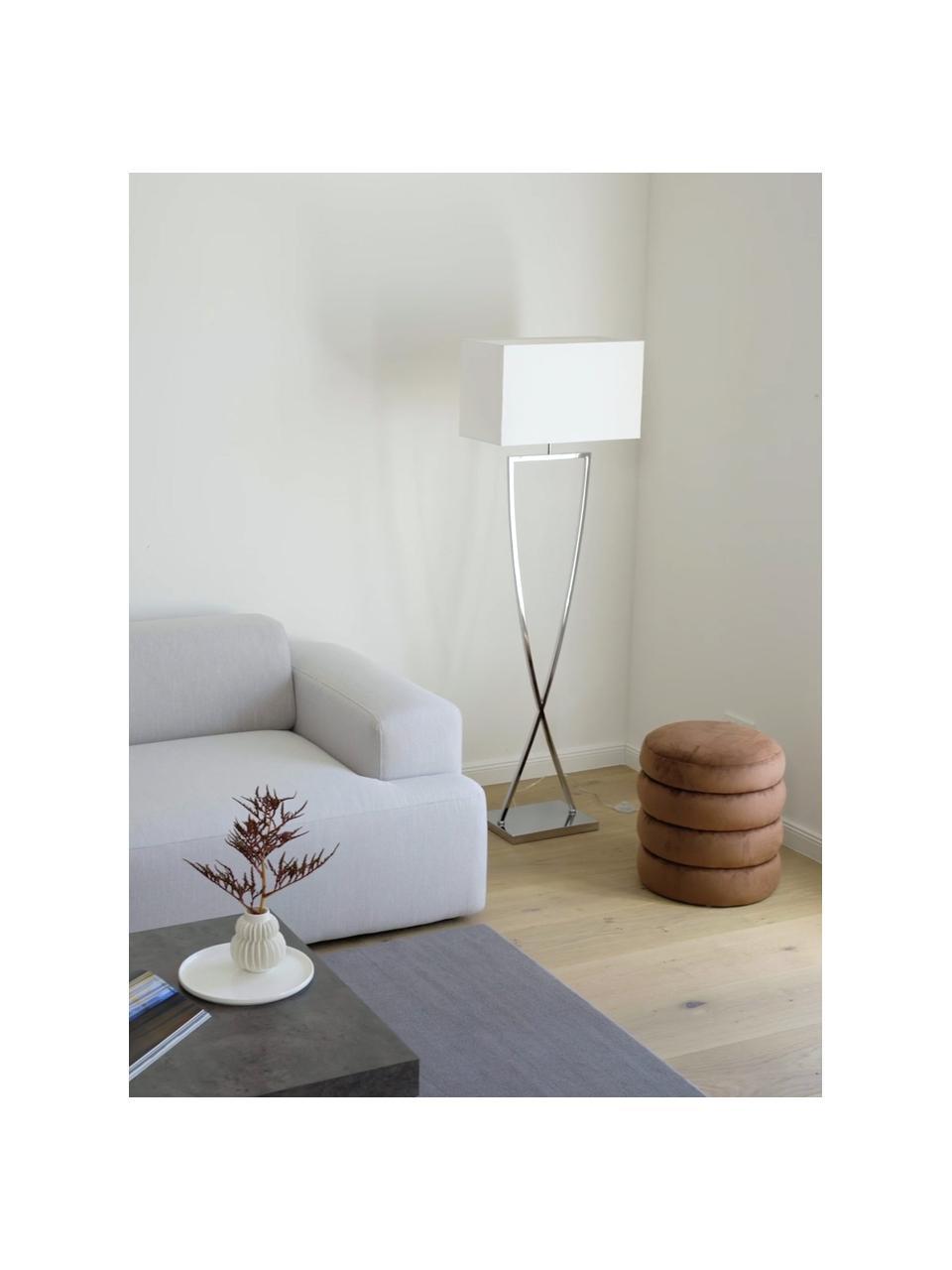 Lampada da terra in agento Toulouse, Paralume: tessuto, Base della lampada: metallo cromato, Cromo, bianco, Larg. 50 x Alt. 157 cm