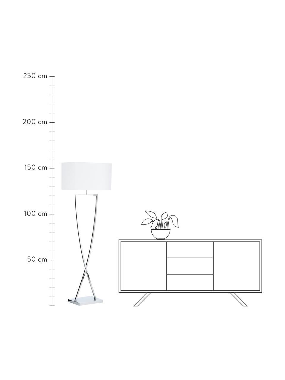 Stehlampe Toulouse in Silber, Lampenschirm: Textil, Lampenfuß: Metall, verchromt, Chrom, Weiß, 50 x 157 cm