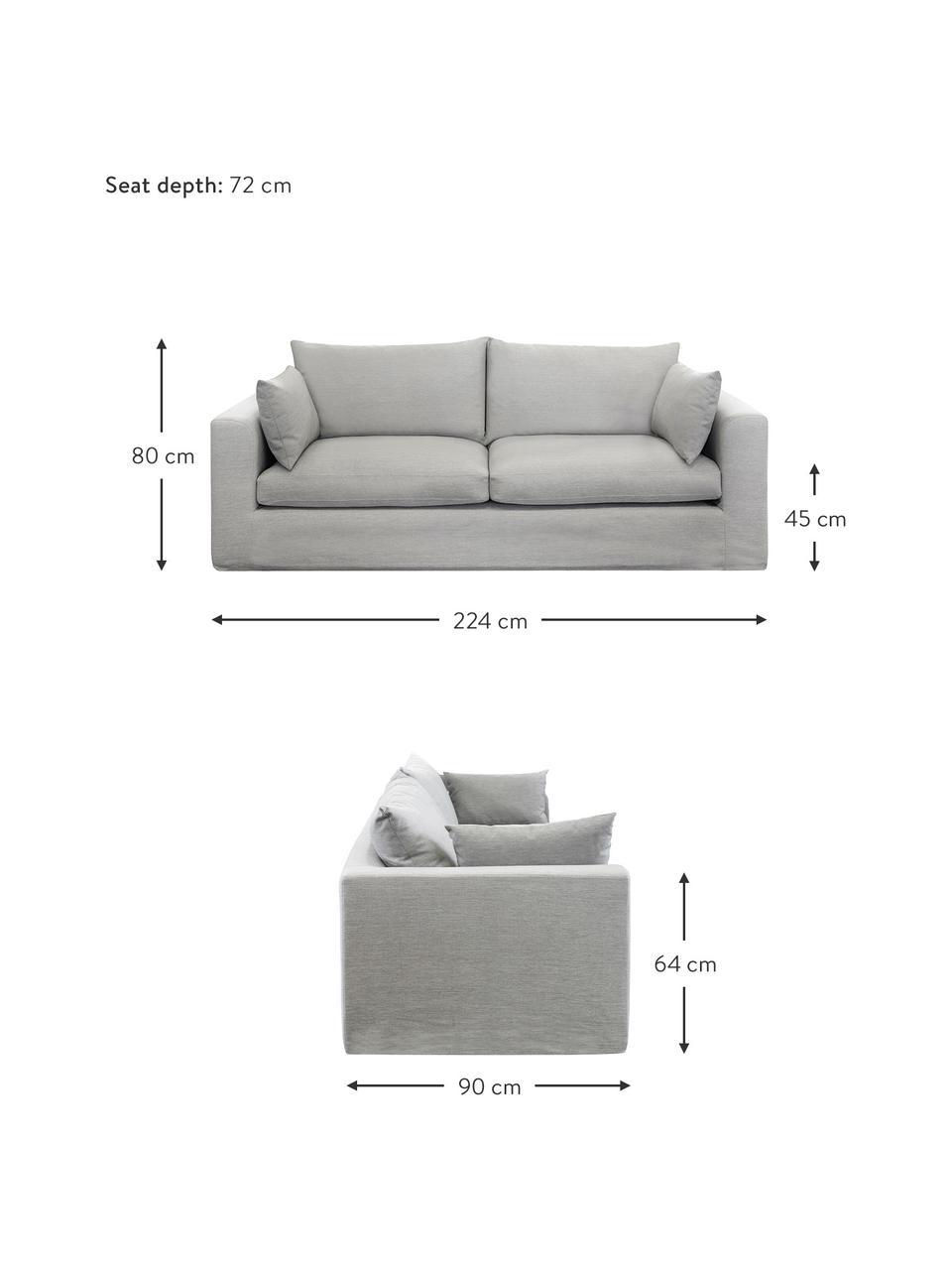 Sofa Zach (3-osobowa), Tapicerka: polipropylen Dzięki tkan, Nogi: tworzywo sztuczne, Taupe, S 224 x G 90 cm