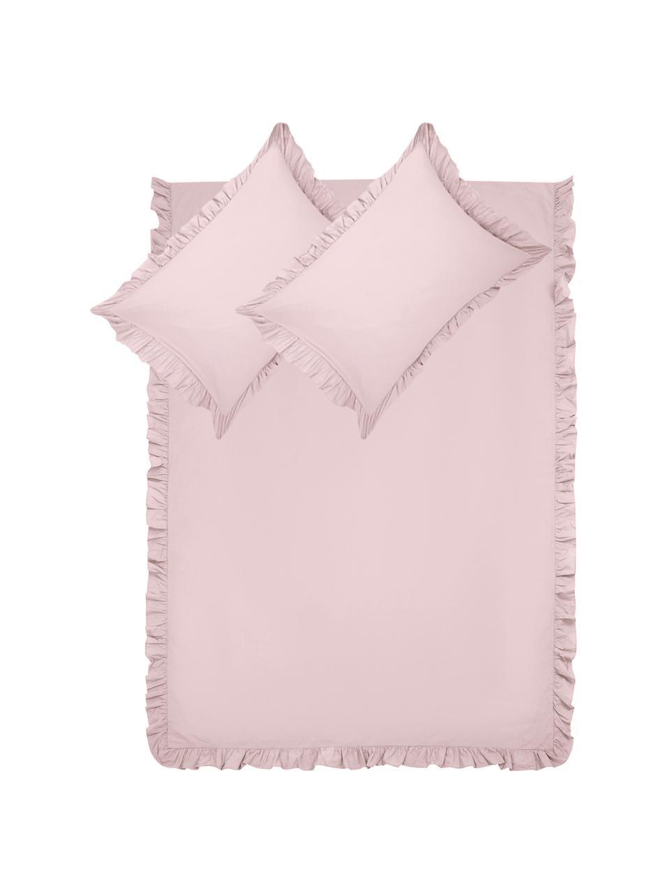 Parure copripiumino in cotone lavato Florence, Tessuto: percalle, Rosa, 255 x 200 cm