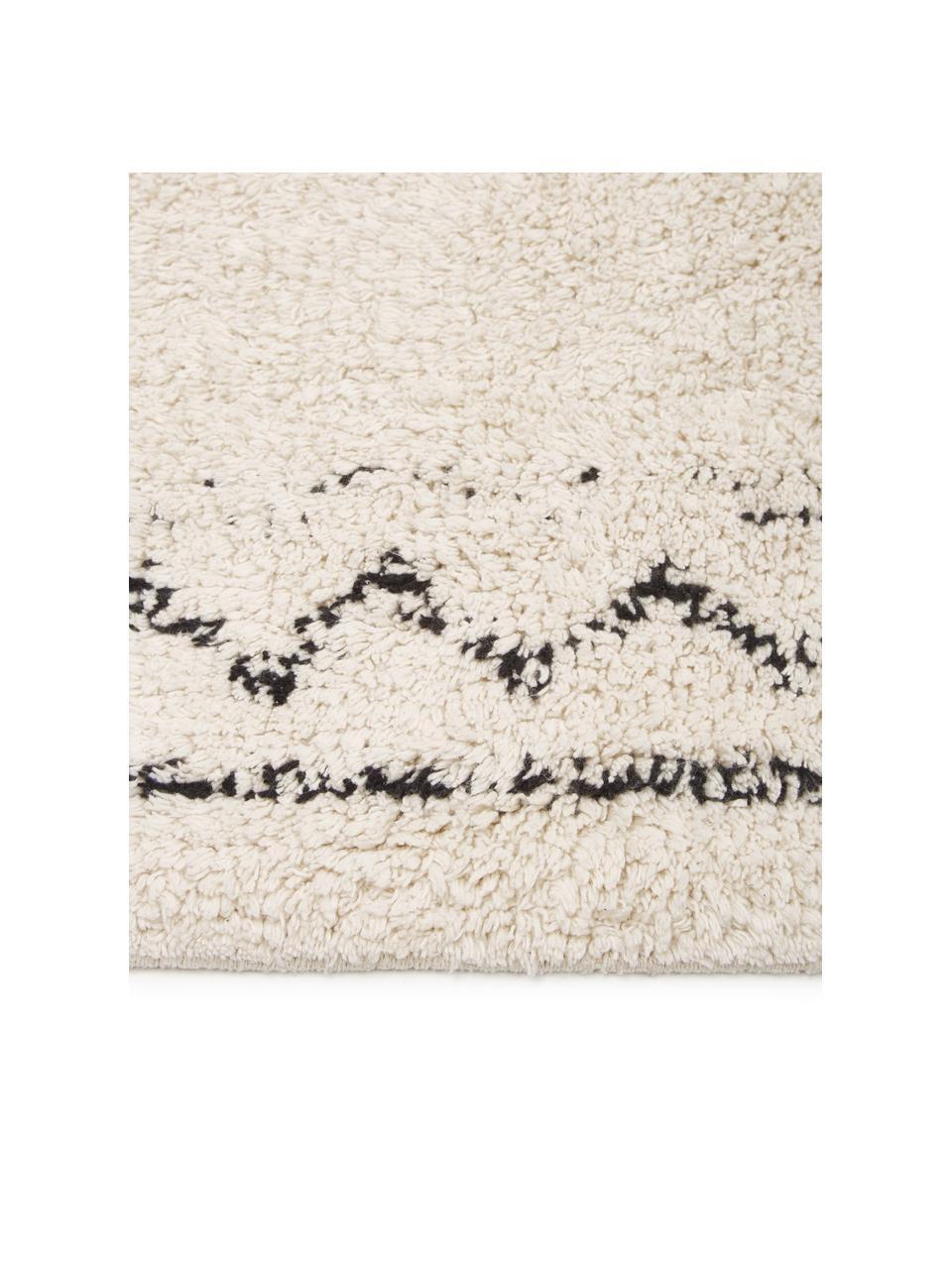 Handgeweven katoenen boho vloerkleed Frame met franjes, 100% katoen, Beige, zwart, B 120 x L 180 cm (maat S)