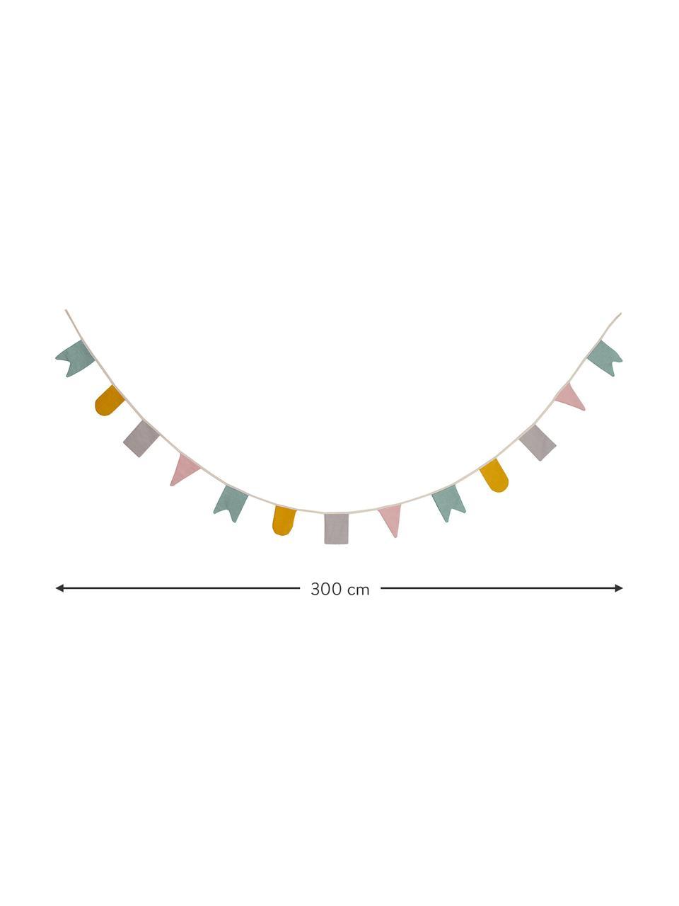 Girlande Hip Hip Hurra aus Bio-Baumwolle, 300 cm, 100% Biobaumwolle, Mehrfarbig, L 300 x H 15 cm