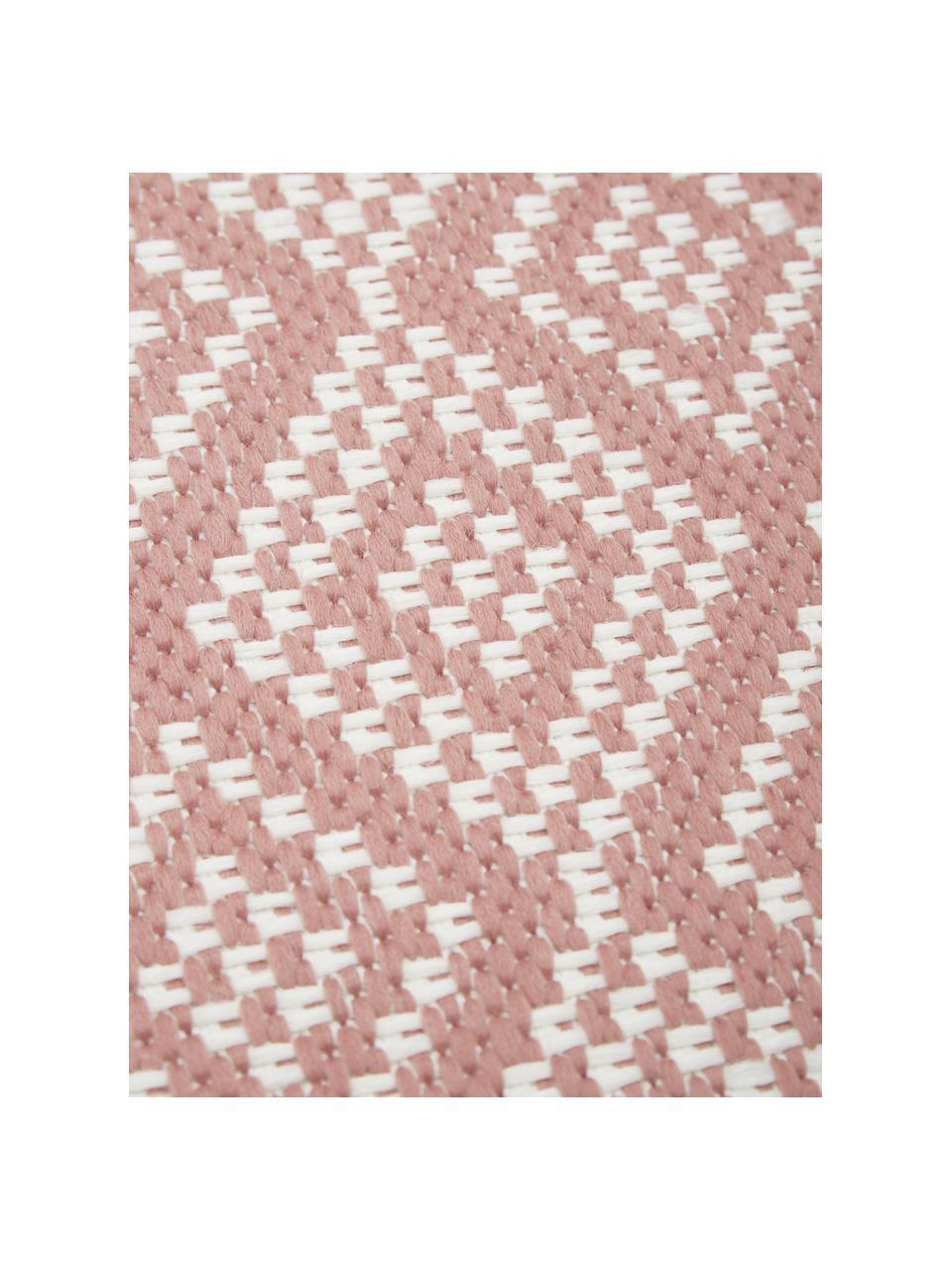 Passatoia color corallo/crema da interno-esterno Capri, 86% polipropilene, 14% poliestere, Bianco, rosso, Larg. 80 x Lung. 250 cm