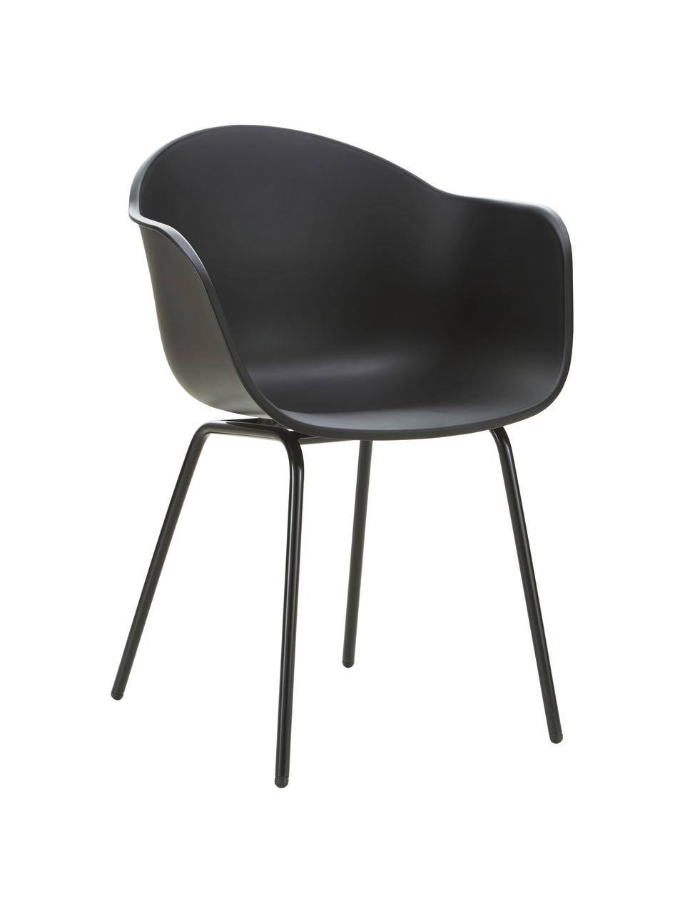 Gartenstuhl Claire in Schwarz, Sitzschale: 65% Kunststoff, 35% Fiber, Beine: Metall, pulverbeschichtet, Schwarz, B 60 x T 54 cm
