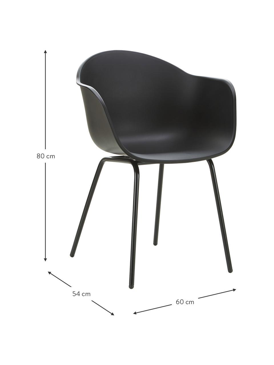 Sedia da giardino nera Claire, Gambe: metallo verniciato a polv, Nero, Larg. 60 x Prof. 54 cm