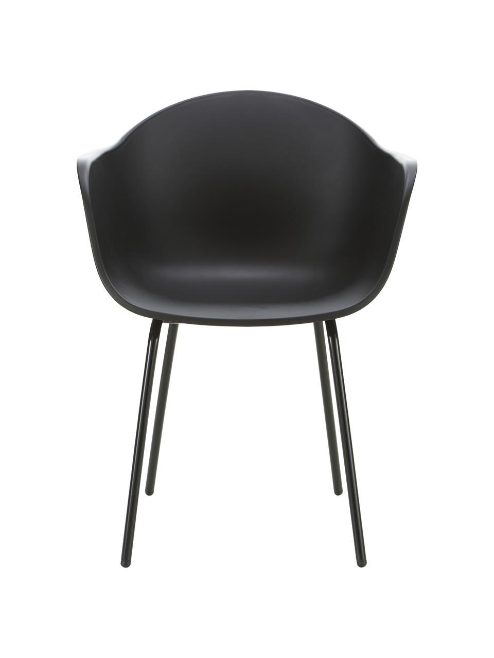 Tuinstoel Claire in zwart, Zitvlak: 65% kunststof, 35% glasve, Poten: gepoedercoat metaal, Zwart, 60 x 54 cm