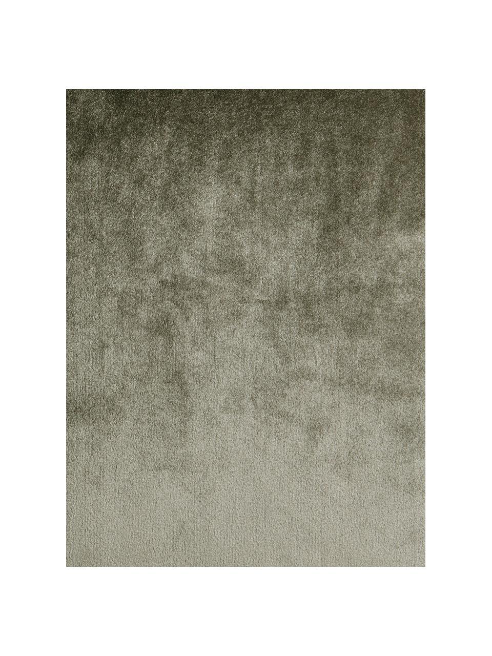 Fluwelen kussen Ombre in kaki met franjes, met vulling, Kakikleurig, 45 x 45 cm