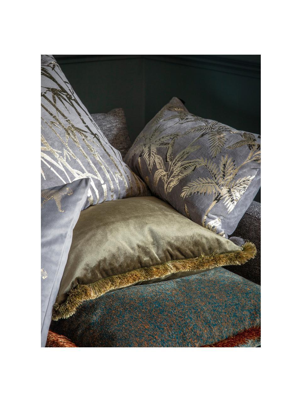 Samt-Kissen Ombre in Khaki mit Fransen, mit Inlett, Bezug: 100% Polyestersamt, Khaki, 45 x 45 cm