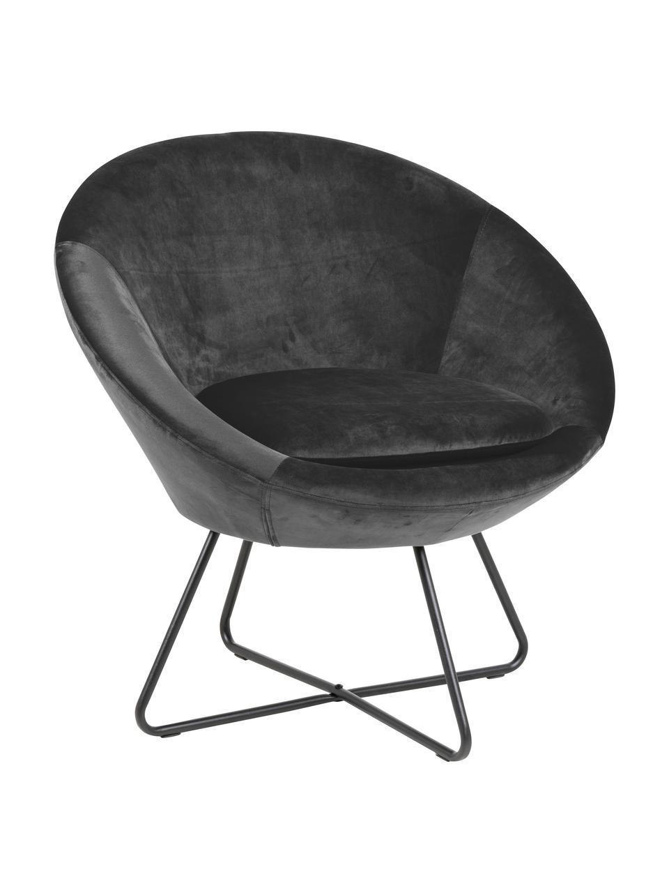 Fotel koktajlowy z aksamitu Center, Tapicerka: aksamit poliestrowy Dzięk, Aksamitny ciemny szary, S 82 x G 71 cm