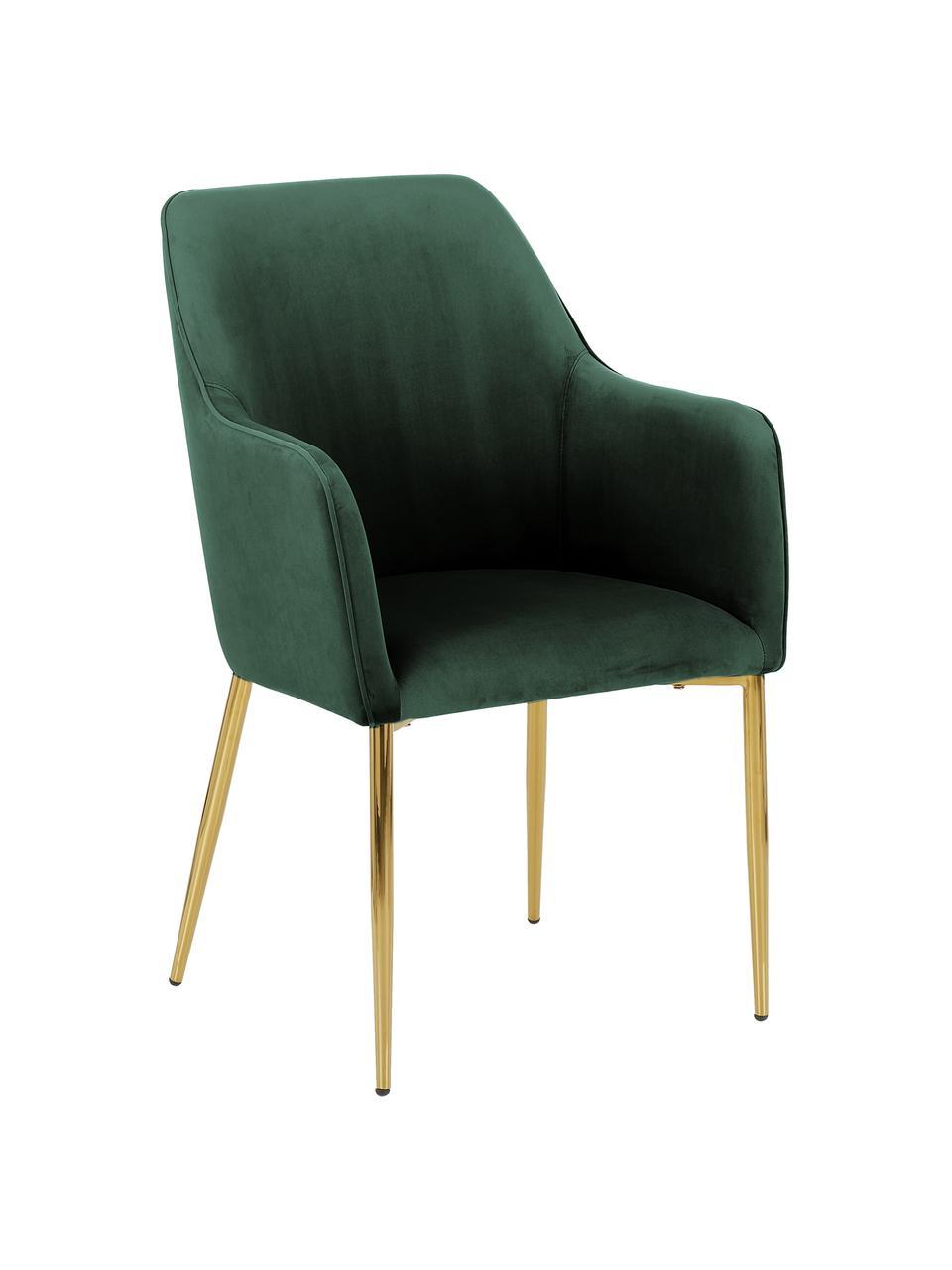 Samt-Armlehnstuhl Ava in Dunklegrün, Bezug: Samt (100% Polyester) Der, Beine: Metall, galvanisiert, Samt Dunkelgrün, B 57 x T 63 cm