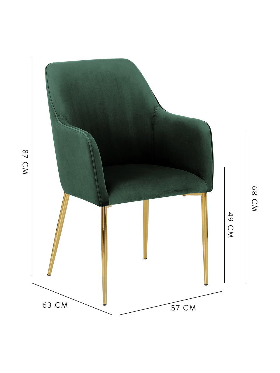 Sedia con braccioli in velluto verde scuro  Ava, Rivestimento: velluto (100% poliestere), Gambe: metallo zincato, Velluto verde scuro, gambe oro, Larg. 57 x Prof. 63 cm