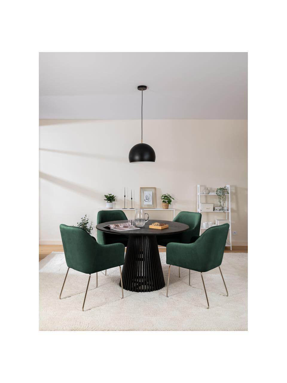 Krzesło z podłokietnikami  z aksamitu Ava, Tapicerka: aksamit (100% poliester) , Nogi: metal galwanizowany, Aksamitny ciemny zielony, S 57 x G 63 cm