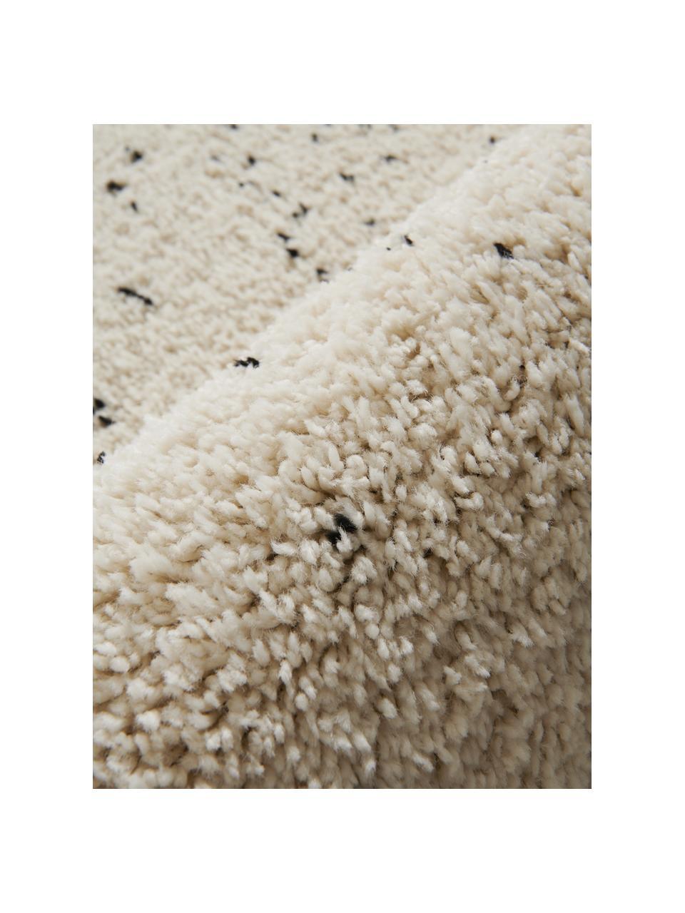Tapis rond à poils longs Ludde, Blanc de laine, noir