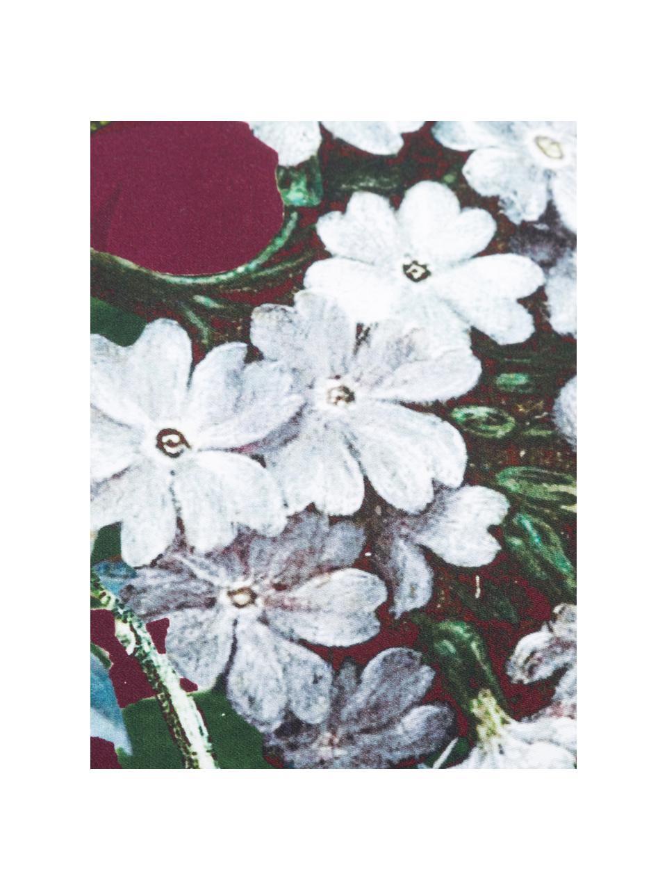 Pościel z satyny bawełnianej  Fleur, Burgundowy, wielobarwny (biały, zielony, żółty), 135 x 200 cm + 1 poduszka 80 x 80 cm