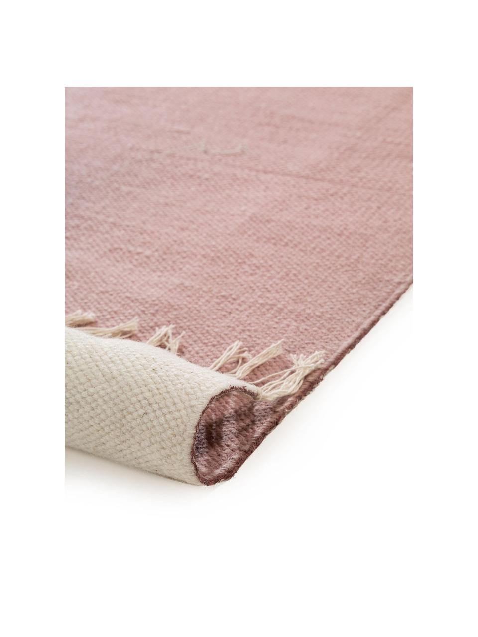 Gestreepte colorblocking vloerkleed Oasis van wol met franjes, 100% wol Bij wollen vloerkleden kunnen vezels loskomen in de eerste weken van gebruik, dit neemt af door dagelijks gebruik en pluizen wordt verminderd., Roze, beige, taupe, B 60 x L 120 cm (maat XS)