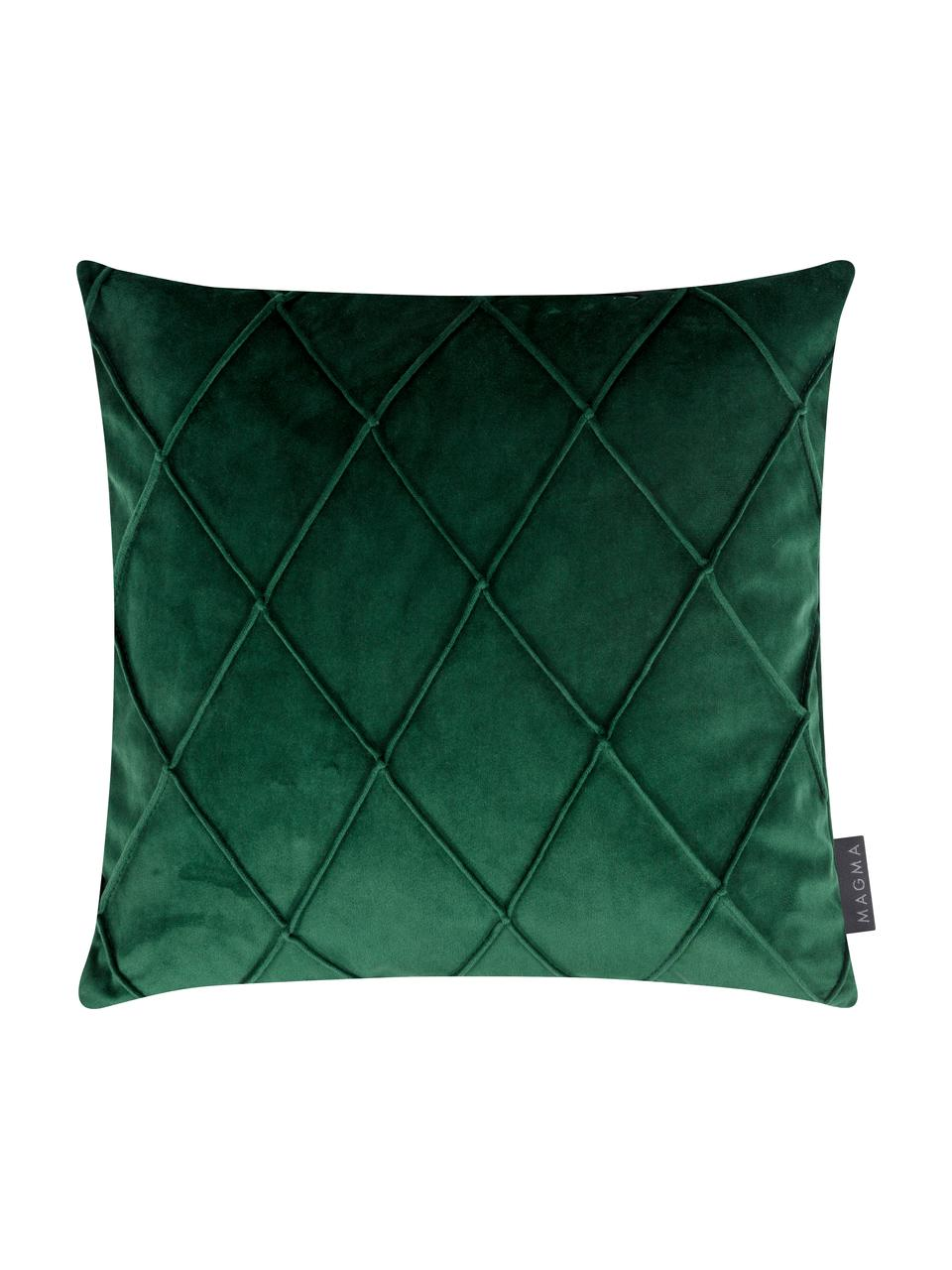 Fluwelen kussenhoes Nobless in groen met verhoogd ruitjesmotief, 100% polyester fluweel, Groen, 50 x 50 cm