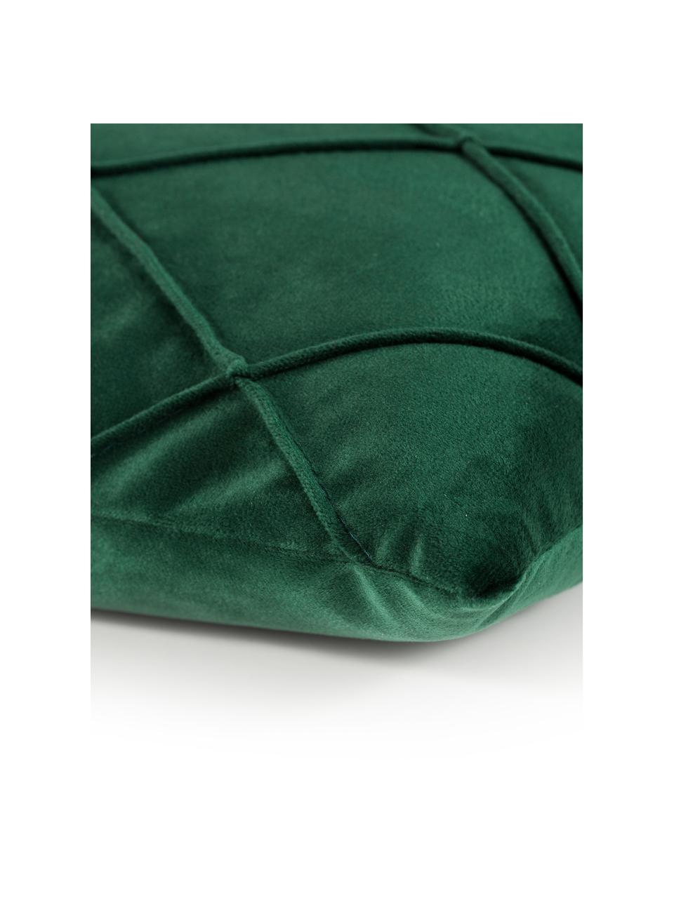 Federa arredo in velluto con motivo a rombi Nobless, 100% velluto di poliestere, Verde, Larg. 50 x Lung. 50 cm