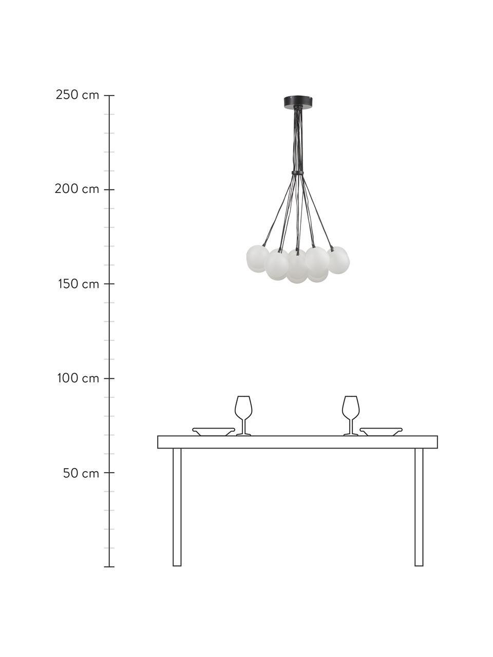 Lampada a sospensione in vetro Magda, Paralume: vetro, Baldacchino: metallo verniciato a polv, Trasparente, Ø 55 x Alt. 110 cm