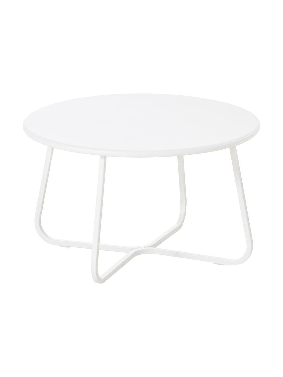 Garten-Couchtisch Sunderland, Stahl, galvanisch verzinkt, pulverbeschichtet, Weiß, Ø 65 x H 40 cm