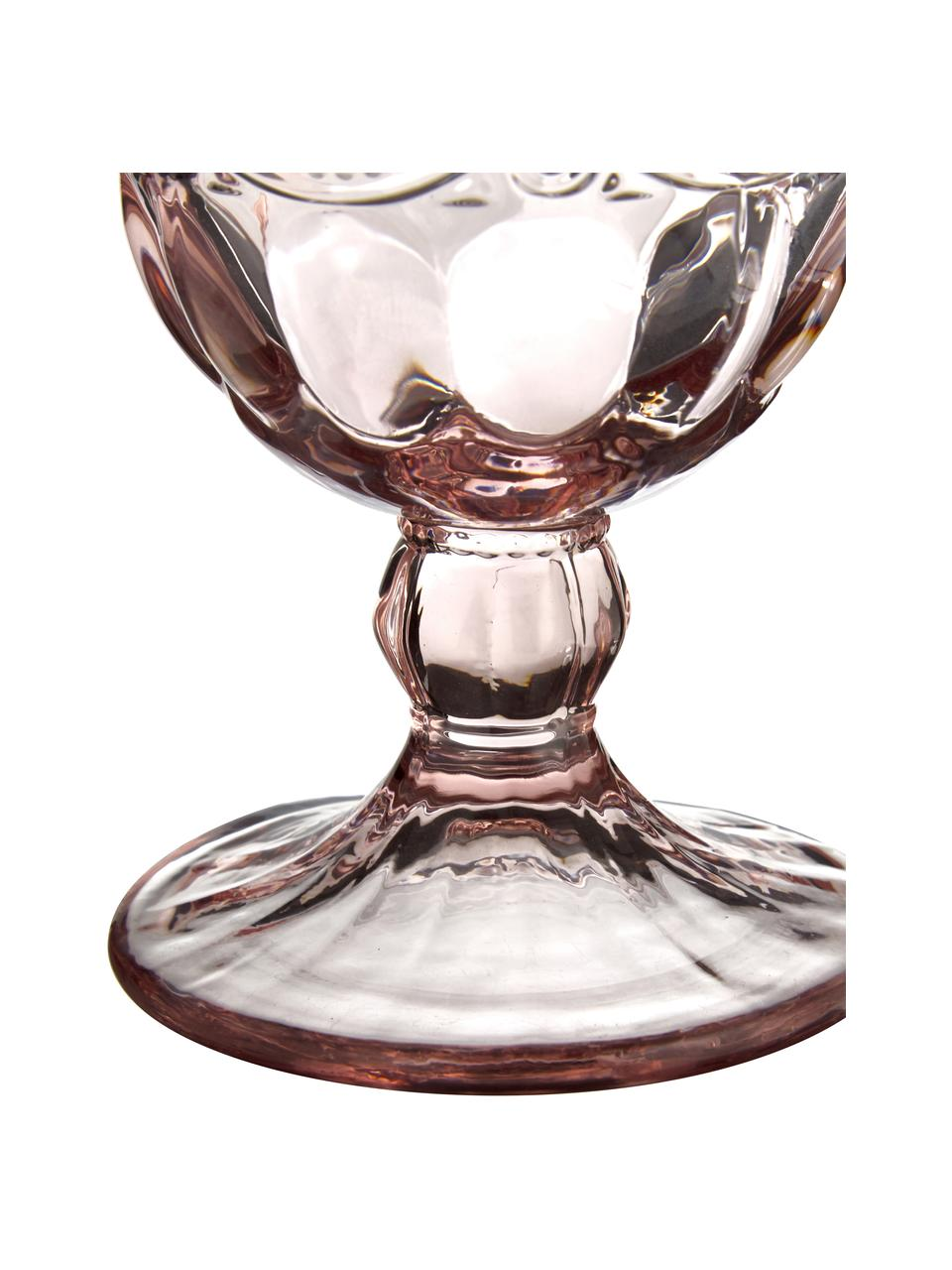 Weingläser Solange mit dekorativem Reliefmuster in Rosa, 6er-Set, Glas, Transparent, Rosa, 350 ml