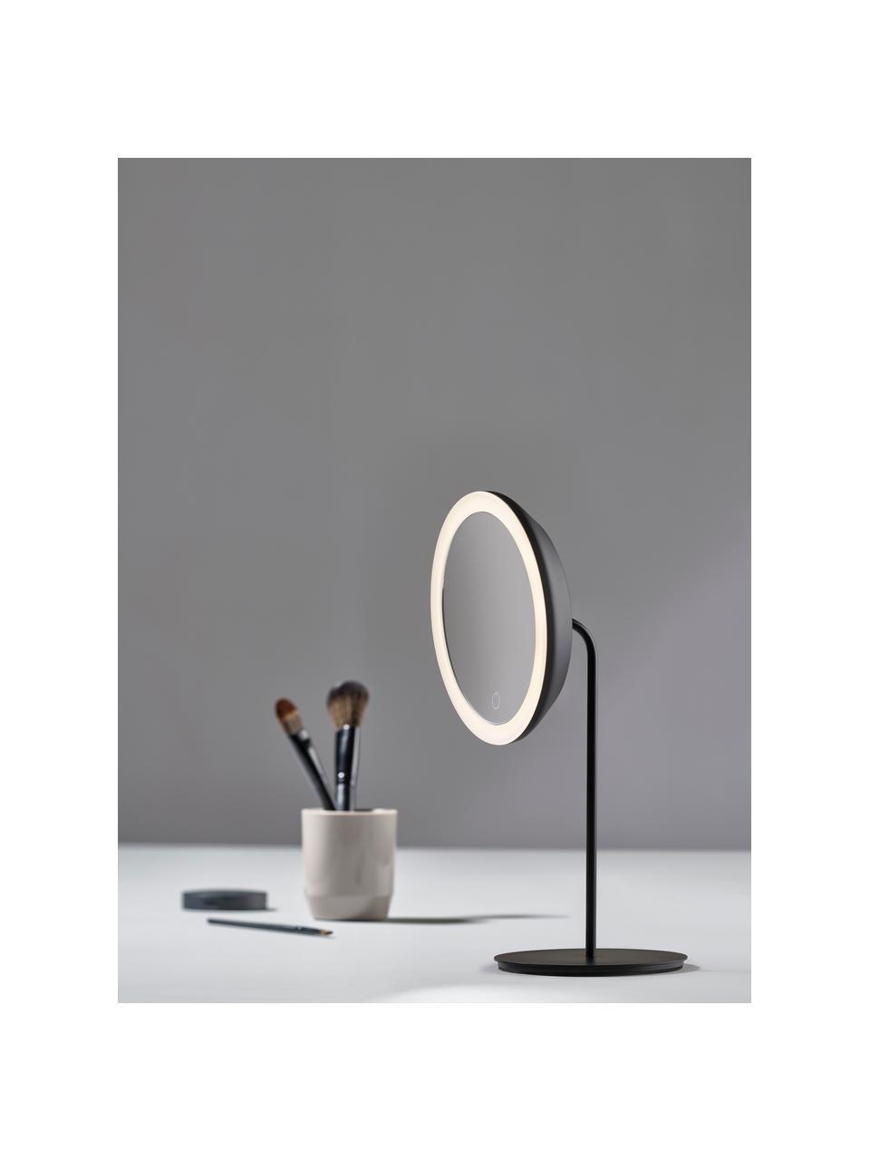 Runder Kosmetikspiegel Maguna mit Vergrößerung und Beleuchtung, Spiegelfläche: Spiegelglas, Schwarz, 18 x 34 cm