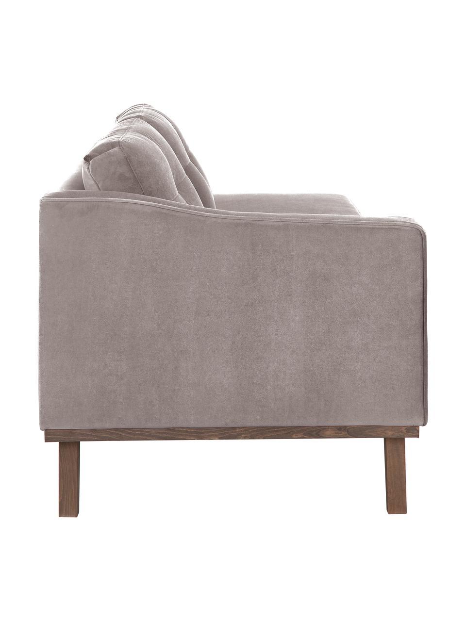 Fluwelen chaise longue Alva in taupe met beukenhout-poten, Bekleding: fluweel (hoogwaardig poly, Frame: massief grenenhout, Poten: massief gebeitst beukenho, Taupe, B 193 x D 94 cm