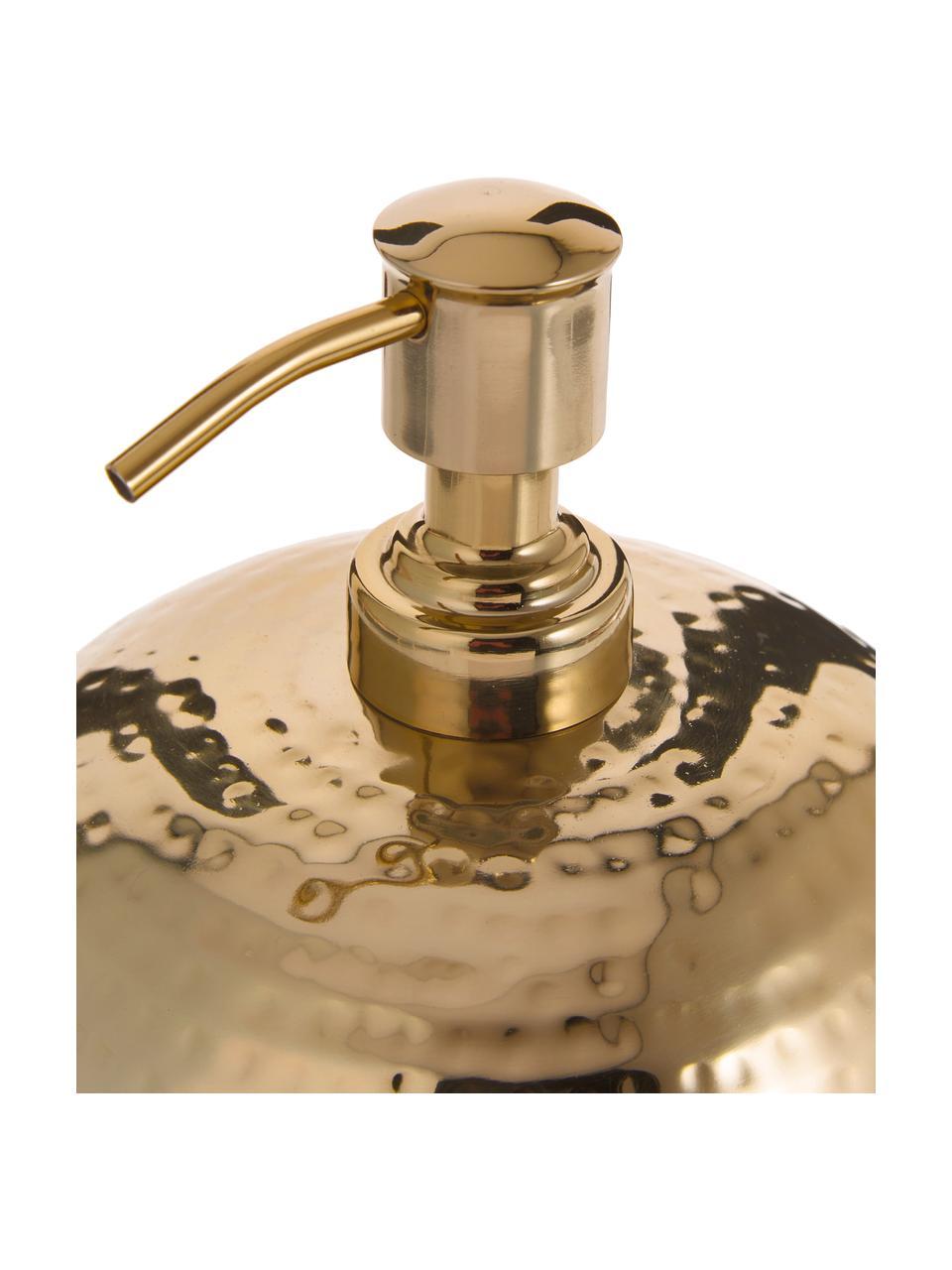 Seifenspender Anetta aus rostfreiem Stahl, Rostfreier Stahl, beschichtet, Messingfarben, Ø 13 x H 13 cm