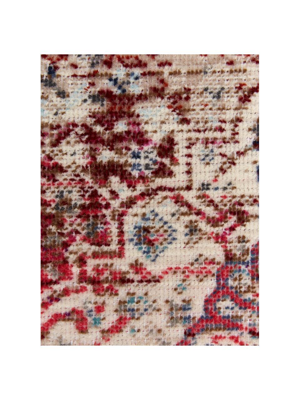 Läufer Vintage Kashan mit Vintagemuster, Flor: 100% Polypropylen, Beige, Rot, Blau, 60 x 185 cm