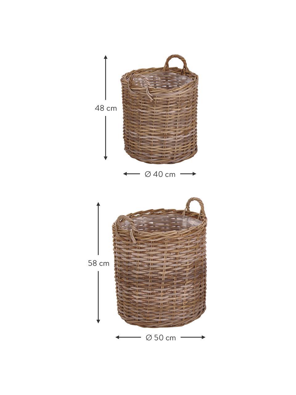 Pflanzkorb-Set Indo aus Rattan, 2-tlg., Braun, Sondergrößen