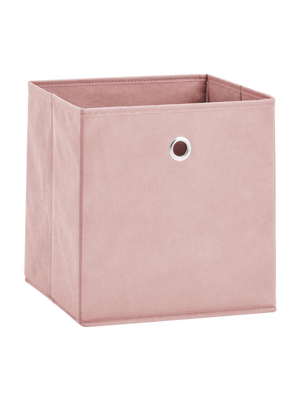 Scatola portaoggetti Lisa, Rivestimento: pile, Struttura: cartone, metallo, Rosa, bianco crema, Larg. 28 x Alt. 28 cm