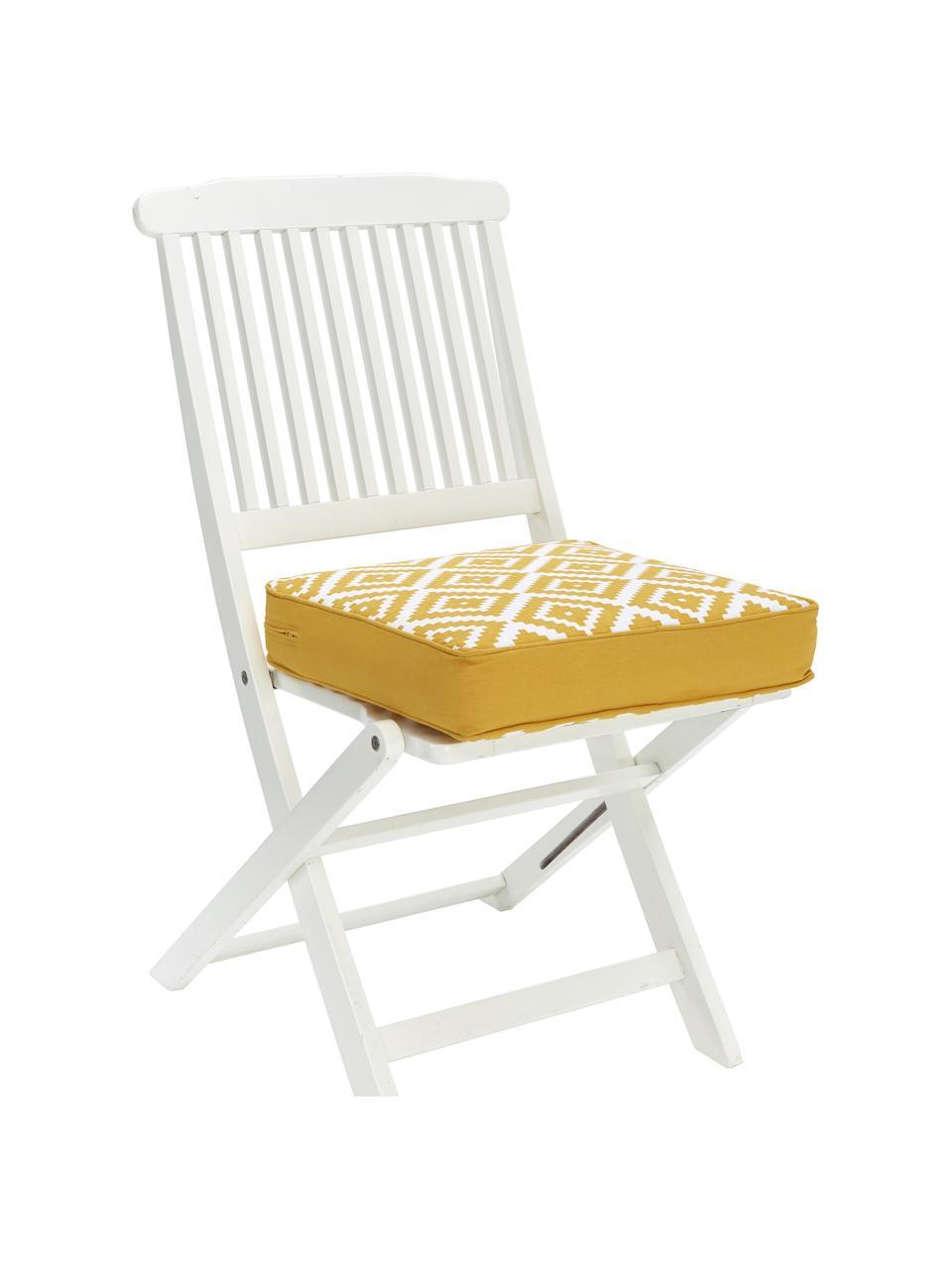 Hohes Sitzkissen Miami in Gelb/Weiß, Bezug: 100% Baumwolle, Gelb, 40 x 40 cm